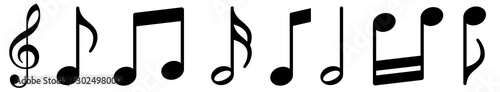 Music notes icons set. Black notes symbol on white background - stock vector. - 302498000