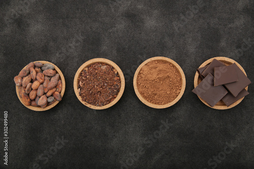 Cuadros en Lienzo organic cacao beans, cocoa powder, ground and chocolate on a black background with copy space for text