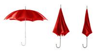 Three Red Retro Umbrellas. Open Umbrella Step.