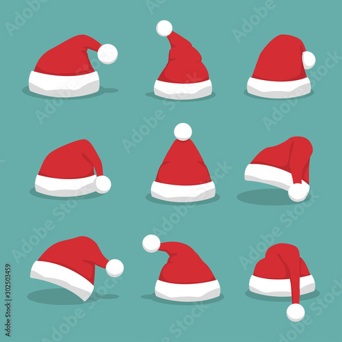 Stampa su Tela  Santa hat set with shadow in a flat design