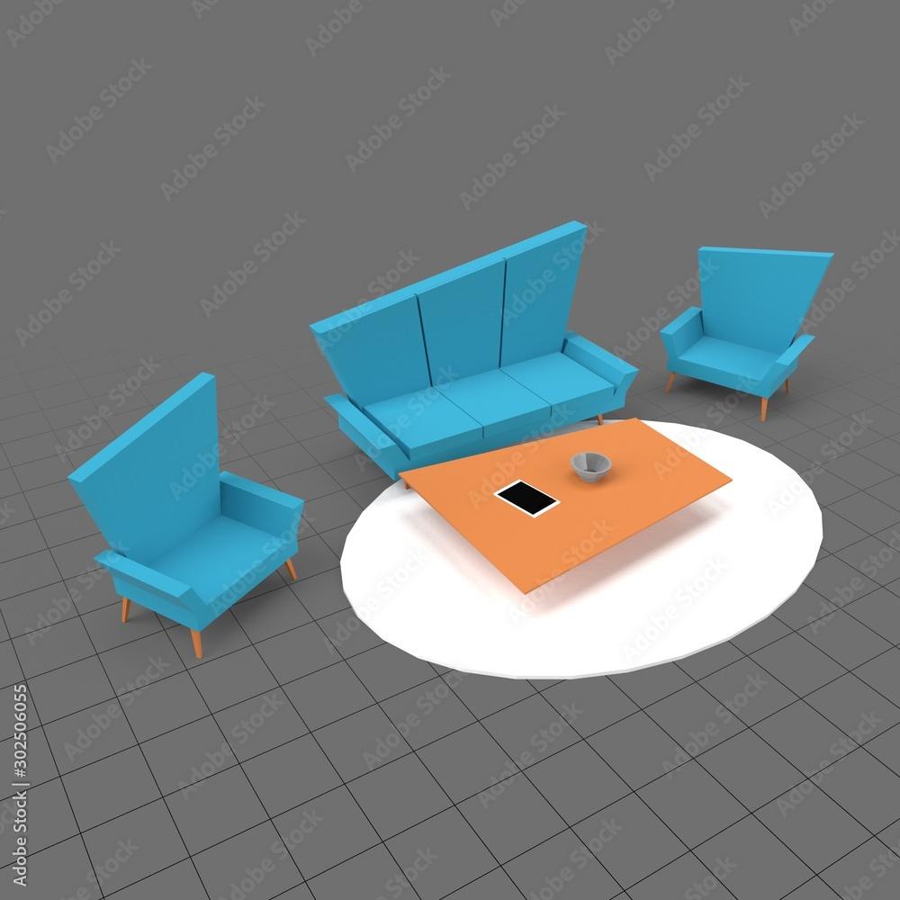 Fototapeta Low poly living room