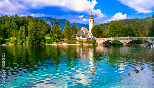 Idyllic nature scenery - Wonderful lake Bohinj in Slovenia, Triglav National Park