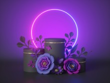 3d Render, Abstract Neon Floral Background, Glowing Round Frame, Blank Cylinder Pedestal Decorated With Paper Flowers, Commercial Mockup, Empty Product Display Showcase Stand