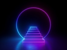 3d Abstract Neon Ring And Steps Isolated On Black Background, Ultraviolet Spectrum, Glowing Pink Blue Light, Blank Frame With Copy Space