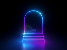 3d Abstract Neon Background, N...