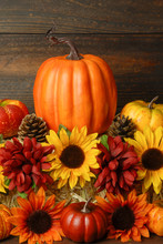Fall Decoration Of Sunflowers,...