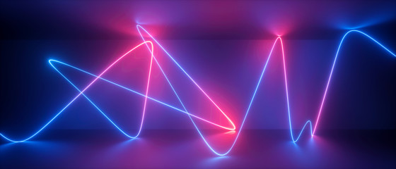 3d abstract neon background, chaotic wavy line, trajectory path glowing in ultraviolet light, violet blue red laser rays