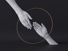 3d Render, White Female Hands Isolated, Luxury Fashion Background, Helping Hands Inside Round Frame, Golden Ring, Mannequin Body Parts, Feminist, Partnership Concept, Clean Minimal Design