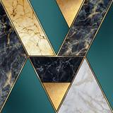 abstract art deco background, geometric pattern, creative texture of marble, modern mosaic inlay, green and gold, artificial painted stone, marbled tile surface, minimal fashion marbling illustration - 302513644