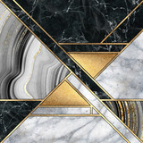 abstract minimal geometric background, luxury art deco design, mosaic inlay, modern creative textures of marble granite agate and gold, artificial stone, marbled tile, fashion marbling illustration - 302513675