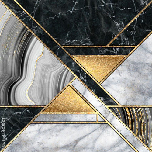 Canvas Prints Geometric abstract minimal geometric background, luxury art deco design, mosaic inlay, modern creative textures of marble granite agate and gold, artificial stone, marbled tile, fashion marbling illustration