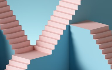 3d render, abstract background with steps and staircase, in pink and blue pastel colors. Architectural design elements.
