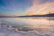 sunset over the river Dnieper on winter