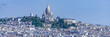 canvas print picture Paris, panorama of the city, typical roofs and buildings, with Montmartre and the Sacre-Choeur basilica in background