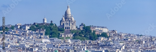 Tuinposter Parijs Paris, panorama of the city, typical roofs and buildings, with Montmartre and the Sacre-Choeur basilica in background