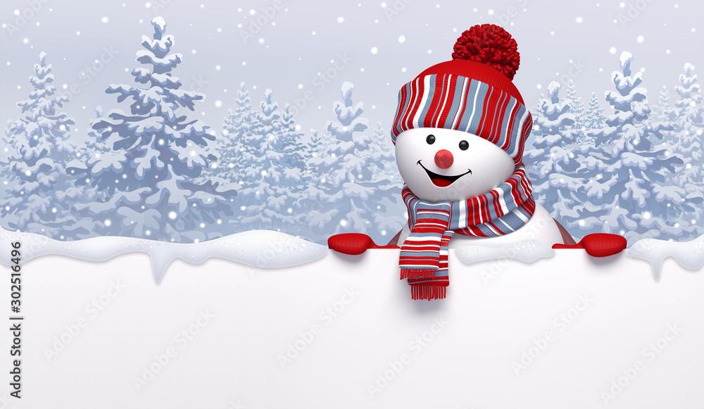 Fototapeta Christmas background with 3d cute happy snowman wearing knitted cap and scarf, holding blank banner. Cartoon character, funny childish toy. Winter landscape with snowy forest.