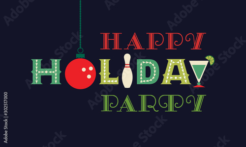 Fotografie, Obraz  Bowling happy holiday party flat vector greeting