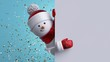 canvas print picture - Christmas greeting card mockup. 3d snowman holding blank banner, looking at camera. Winter holiday background with gold confetti. Happy New Year. Funny festive character.