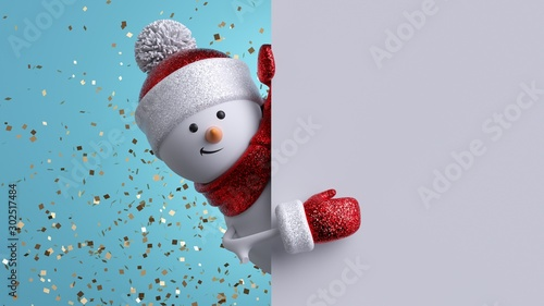 Obraz Christmas greeting card mockup. 3d snowman holding blank banner, looking at camera. Winter holiday background with gold confetti. Happy New Year. Funny festive character. - fototapety do salonu