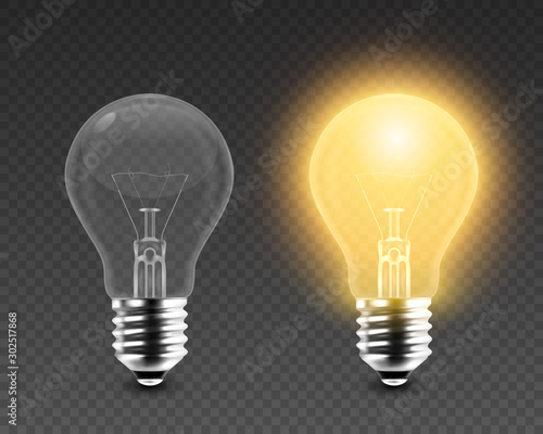 Obraz Vector 3d Realistic Turning On and Off Light Bulb Icon Set Closeup Isolated on Transparent Background. Glowing Incandescent Filament Lamps. Creativity Idea, Business Innovation Concept. Front View - fototapety do salonu