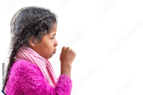 Fotografia  A young girl coughing, against a white background with copy space