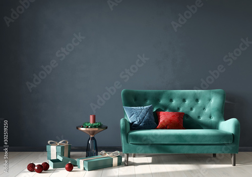 Valokuva  Festive interior with trendy neo mint velour sofa and gifts