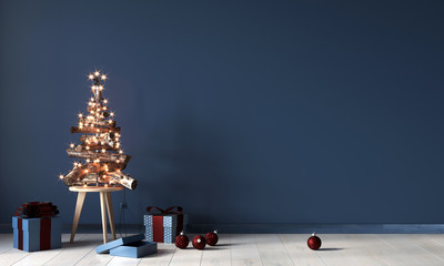 Festive interior with a decorative Christmas tree made of wooden branches and gifts