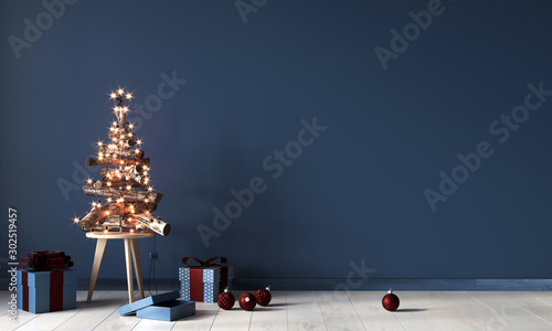 Festive interior with a decorative Christmas tree made of wooden branches and gi Wallpaper Mural