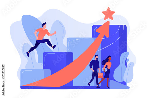 Fotografiet Successful businessman running up the career stairs and rising arrow to a star