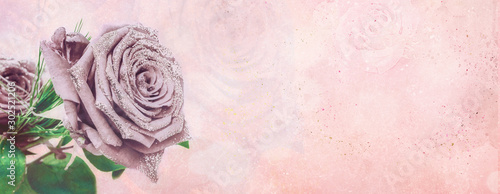 Poster de jardin Fleur Sweet color rose in soft color with floral background