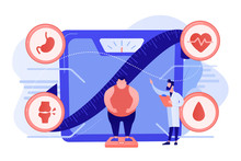 Tiny People, Overweight Man On Scales And Doctor Showing Obesity Deseases. Obesity Health Problem, Obesity Main Causes, Overweight Treatment Concept. Pinkish Coral Bluevector Isolated Illustration