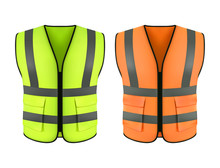 Reflective Orange Vest, Green Construction Jacket