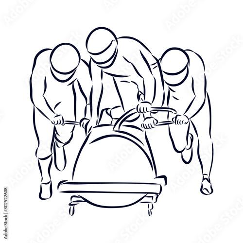 Carta da parati bobsled sport sketch