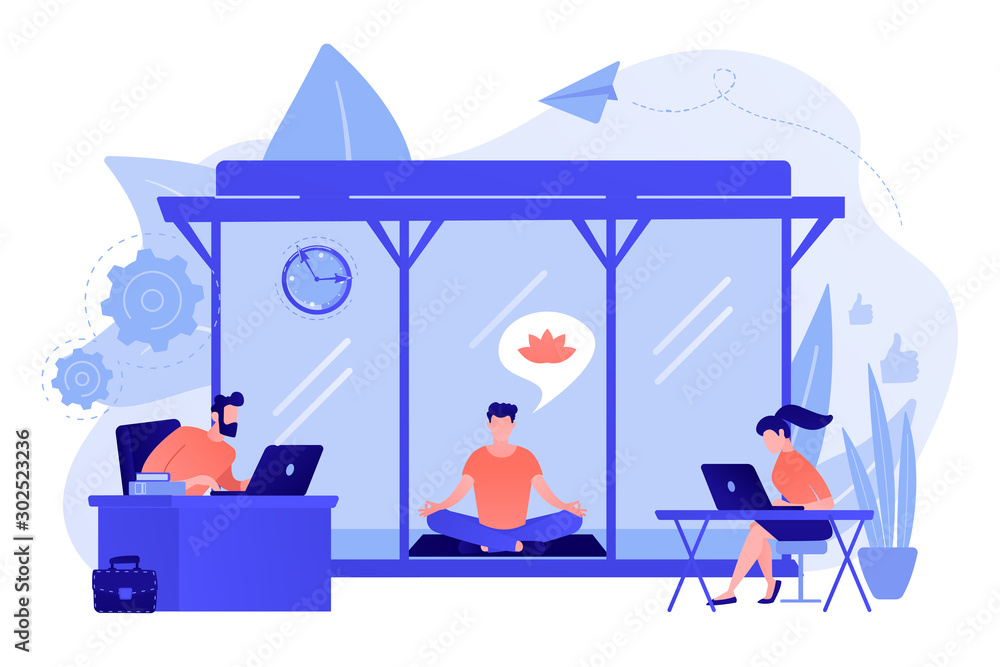 Fototapeta Business people working at laptops in office with meditation and relax area. Office meditation room, meditation pod, office relaxing place concept. Pinkish coral bluevector isolated illustration