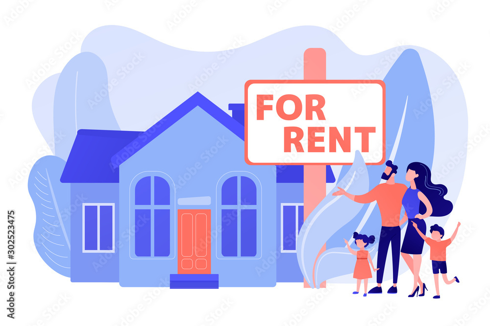 Fototapeta Family moving to countryside area. Realtor shows townhouse. House for rent, booking hose online, best rental property, real estate services concept. Pinkish coral bluevector isolated illustration