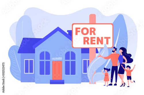 Family moving to countryside area. Realtor shows townhouse. House for rent, booking hose online, best rental property, real estate services concept. Pinkish coral bluevector isolated illustration