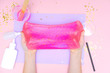canvas print picture - How to make slime at home. Children art project. DIY concept. Kids hands making slime toy on pink. Step by step photo instruction. Step 12