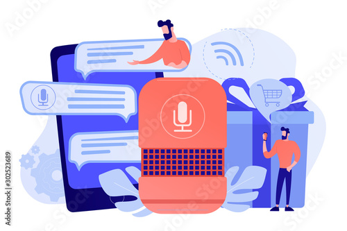 Obraz Customer shopping online, ordering goods and delivery with smart speaker. Voice activated digital assistants, voice controlled online shopping concept. Vector isolated illustration. - fototapety do salonu