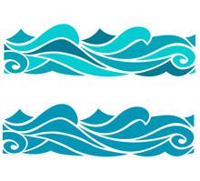 Blue Waves Sea Ocean Vector Il...