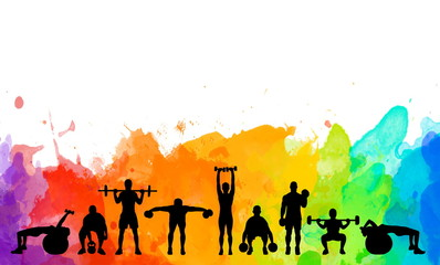 Detailed illustration silhouettes strong rolling people set girl and man spor...
