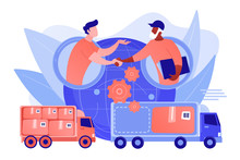 Worldwide Shipping Service, International Distribution. Collaborative Logistics, Supply Chain Partners, Freight Cost Optimization Concept. Pinkish Coral Bluevector Isolated Illustration