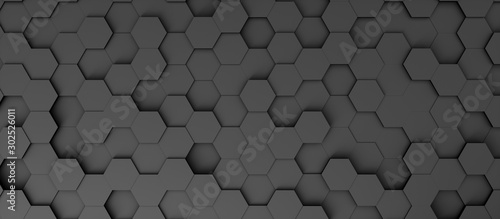 Obraz Abstract background in the form of dark hexagons - fototapety do salonu