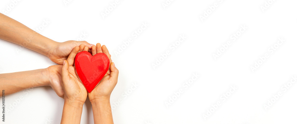 Fototapety, obrazy: Hands holding red heart over white background. Love, healthcare, family, insurance, donation concept