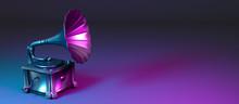 Metal Gramophone In Neon Light
