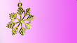 canvas print picture - One golden plastic snowflake decoration on a purple background