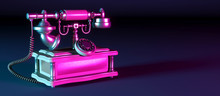 Dark Retro Phone On A Black Background In Neon Light