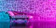 canvas print picture - antique sofa against the background of a brick wall in neon lighting
