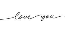 Love You Mono Line Calligraphy...