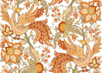 Fantasy floral seamless pattern in jacobean embroidery style, vintage, old, retro style. Vector illustration in soft orange and green colors Isolated on white background.