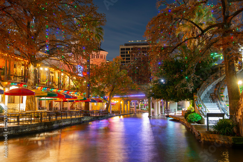 San Antonio River Walk and stone bridge over San Antonio River near Alamo in downtown San Antonio, Texas, USA Wallpaper Mural